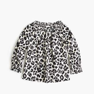 J.Crew Girls' gathered top in leopard