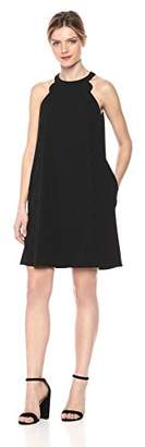 Kensie Dress Women's High Neck Scuba Crepe Dress with Pockets