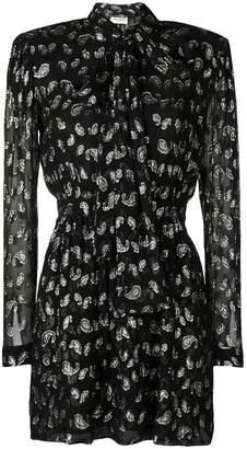 Saint Laurent glitter paisley patterned dress