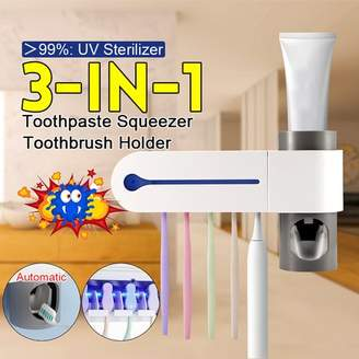 Kadell 3 in 1 Wall Mount UV Light Toothbrush Sanitizer Sterilizer Toothbrush Holder Automatic Toothpaste Squeezers Dispenser for Home Bathroom Toilet Accessories - White