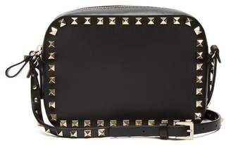 Valentino Rockstud Camera Leather Cross Body Bag - Womens - Black