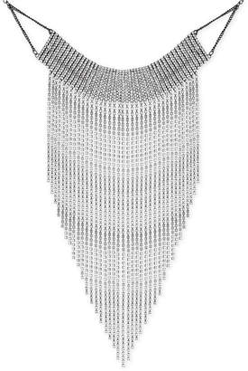 "GUESS Silver-Tone Crystal Rhinestone Fringe Statement Necklace, 12"" + 2"" extender"