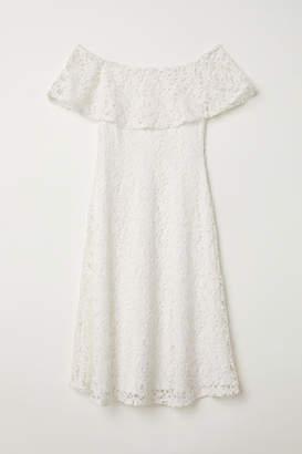 H&M Lace Off-the-shoulder Dress - White