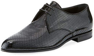 Saint Laurent Smoking Perforated Patent Leather Derby Shoe