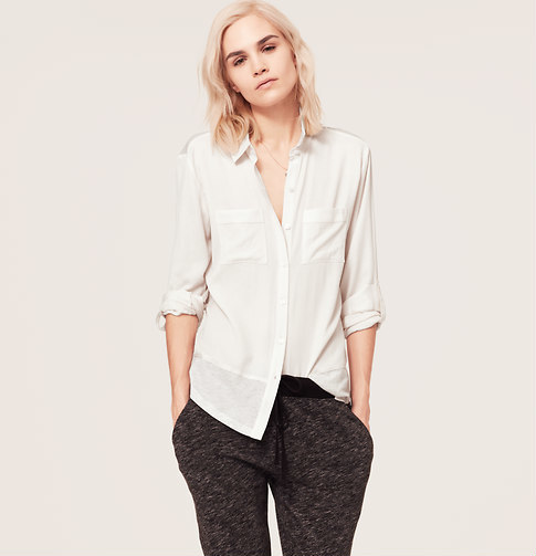 LOFT Lou & Grey Mixed Media Shirt