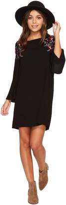 BB Dakota Pascal Satin-Backed Crepe Bell Sleeve Dress with Floral Embroidery Women's Dress