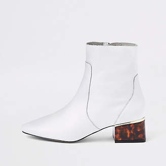River Island White leather tortoise shell block heel boots