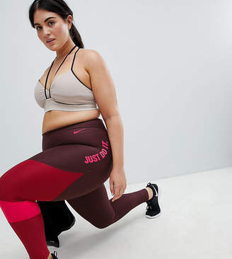 Nike Training Plus Power Leggings In Burgundy Colourblock