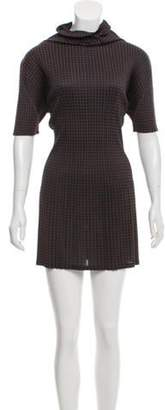 Pleats Please Issey Miyake Pleated Houndstooth Dress Brown Pleated Houndstooth Dress