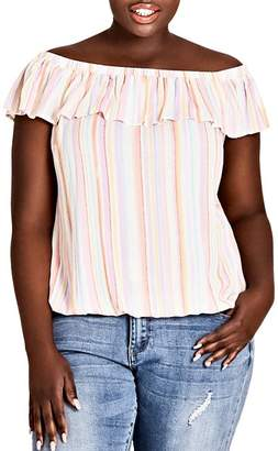 City Chic Plus Kalua Striped Off-the-Shoulder Top