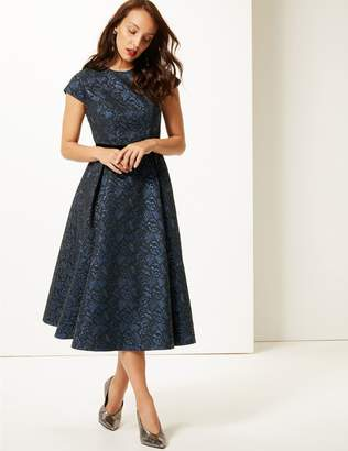 Marks and Spencer Floral Print Cap Sleeve Skater Midi Dress
