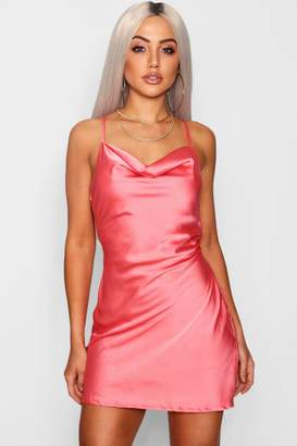 boohoo Strappy Cowl Neck Luxe Satin Mini Dress