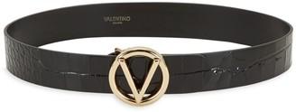Mario Valentino Valentino By Giusy Logo Croc-Embossed Patent Leather Belt