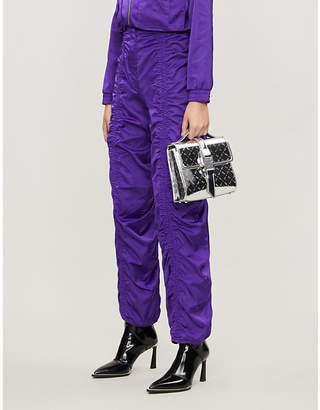 Leo Seth ruched-front relaxed-fit taffeta trousers