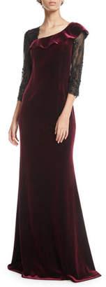 Rickie Freeman For Teri Jon Asymmetric Velvet & Lace-Sleeve Gown