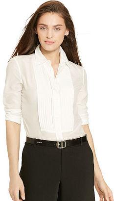 Ralph Lauren Pintucked Cotton-Silk Shirt $89.50 thestylecure.com