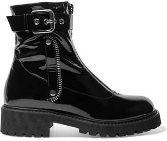 Giuseppe Zanotti Patent-leather Combat Boots - Black
