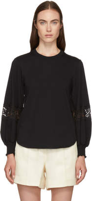 See by Chloe Black Lace Detail T-Shirt
