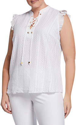 MICHAEL Michael Kors Size Lace-Up Sleeveless Eyelet Top with Ruffle Trim