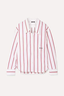 Calvin Klein Oversized Embroidered Striped Cotton-poplin Shirt - White