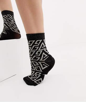 Asos Design DESIGN shimmer monogram socks