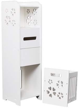 Ktaxon Slim Bathroom Storage Cabinet Toilet Floor Standing Narrow Cupboard Shelf,White