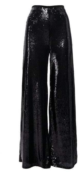 Black Sequin Wide Leg Trousers