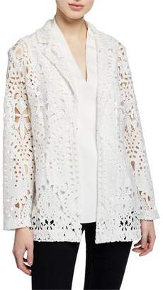 Misook Long-Sleeve Open Lace Blazer