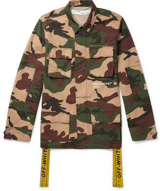 Off-White Off White Oversized Canvas-Trimmed Camouflage-Print Cotton Field Jacket - Men - Army green