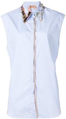 No.21 safety pin striped shirt