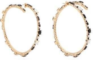 Valentino - Crystal Hoop Earrings - Womens - Silver