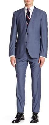 BOSS Reyno Notch Collar Flat Front Sharkskin 2-Piece Suit