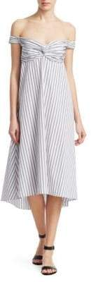 A.L.C. Arsenio Off-The-Shoulder Stripe Poplin Dress