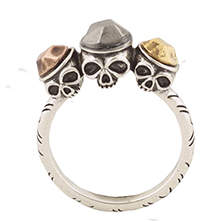 House Of Harlow Triple Skull Ring Silver