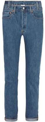 Vetements + Levi's Asymmetric High-Rise Slim-Leg Jeans
