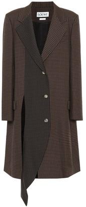 Loewe Asymmetric checked wool coat