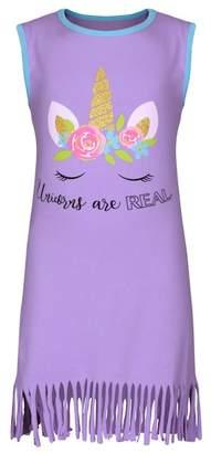 Mia Belle Girls Sleeveless Unicorn Fringe Dress (Toddler, Little Girls, & Big Girls)