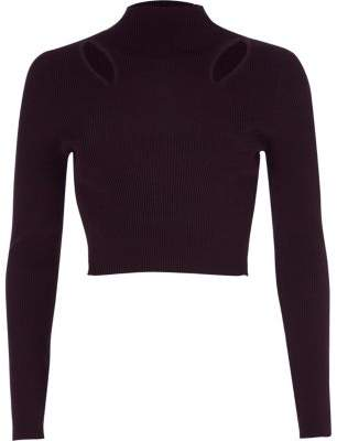 River Island Womens Purple ribbed cut out cropped long sleeve top