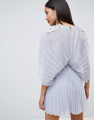 Asos DESIGN pleated kimono mini dress with cluster embellished shoulders