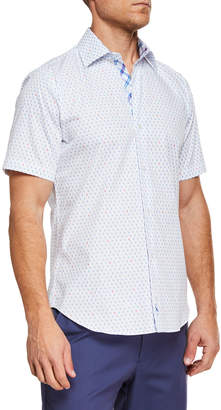 Tailorbyrd Men's Flamingos Woven Short-Sleeve Shirt
