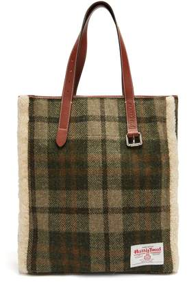J.W.Anderson Shearling-trimmed checked Harris tweed tote