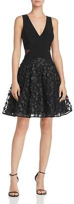 Aqua Floral-Appliqué Fit-and-Flare Dress - 100% Exclusive