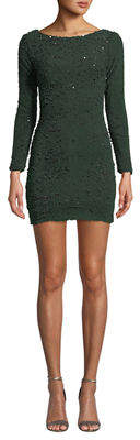 Dress the Population Lola Long-Sleeve Scoop-Back Sequin Mini Cocktail Dress