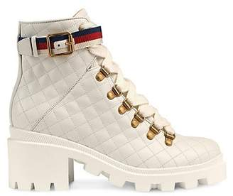 Gucci Women's Trip Quilted Leather Ankle Boots - White