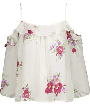 Joie Birtha Cold-Shoulder Ruffled Floral-Print Silk Crepe De Chine Top