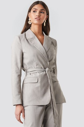 Na Kd Classic Long Belted Blazer Light Brown