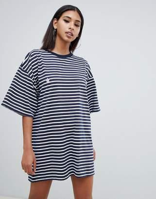 Missguided star motif oversized t-shirt dress in blue stripe