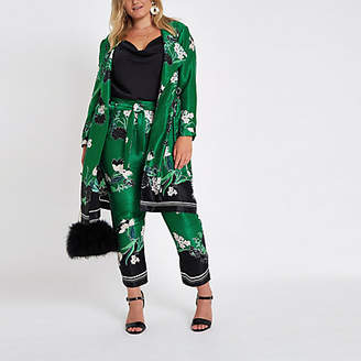 River Island Plus green floral D-ring duster coat