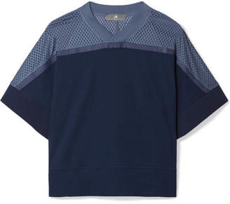 adidas by Stella McCartney Climacool Mesh-paneled Organic Cotton-jersey T-shirt - Navy