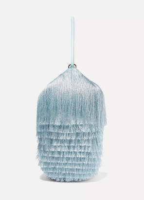 Hillier Bartley - Lantern Fringed Leather Clutch - Light blue
